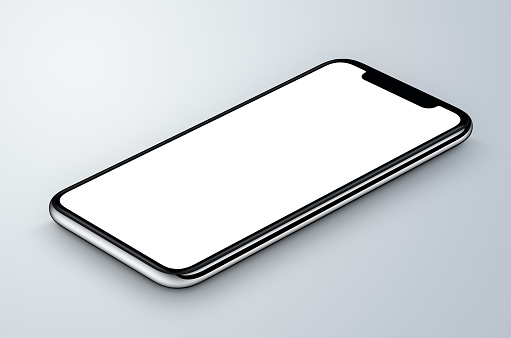 Perspective view isometric white smartphone mockup lies on gray surface.
