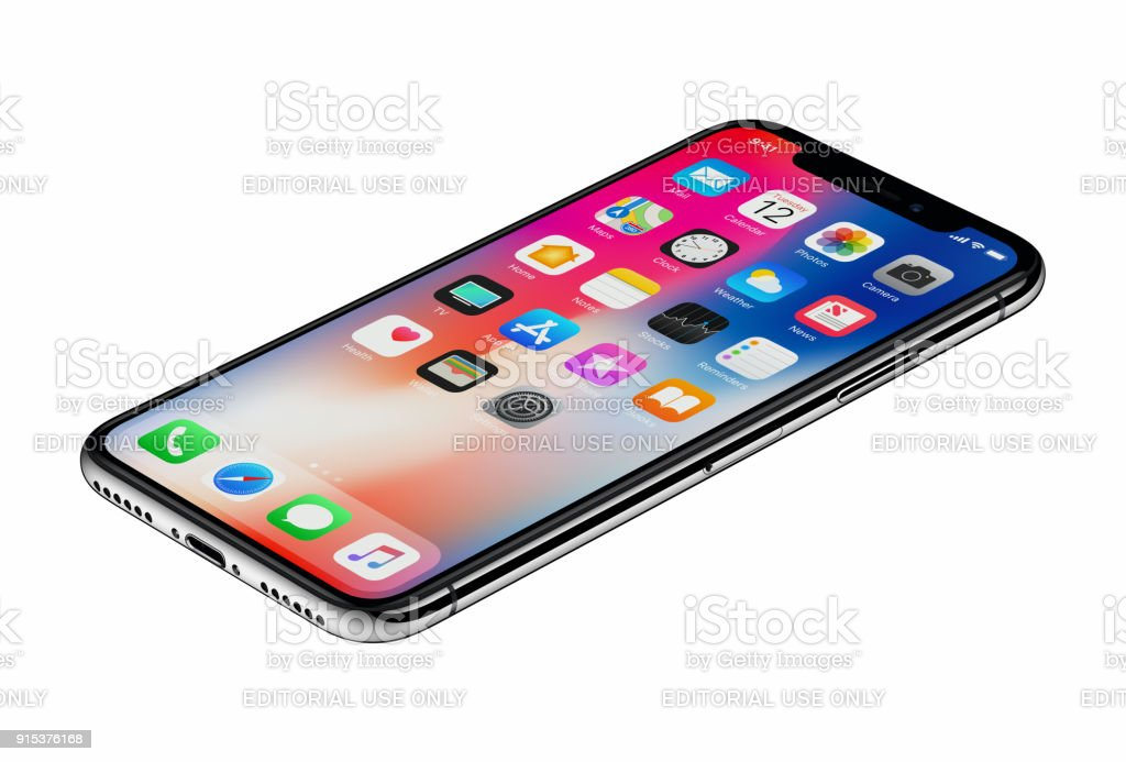 Perspective view new Apple iPhone X smartphone isolated on white background stock photo