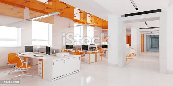 Perspective view of a color office interior with a row of white tables standing under large windows. 3d rendering.