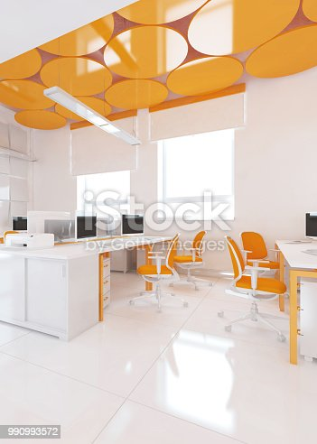 istock Perspective view of a color office interior with a row of white tables. 3d rendering. 990993572