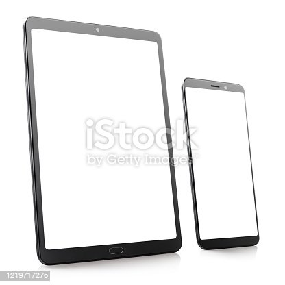 Perspective view of blank tablet and phone, isolated on white background