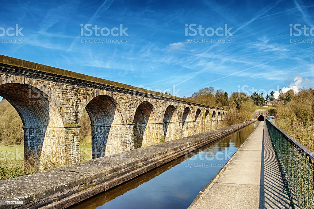 Perspective view of Chirk viaduct and aquaduct stock photo