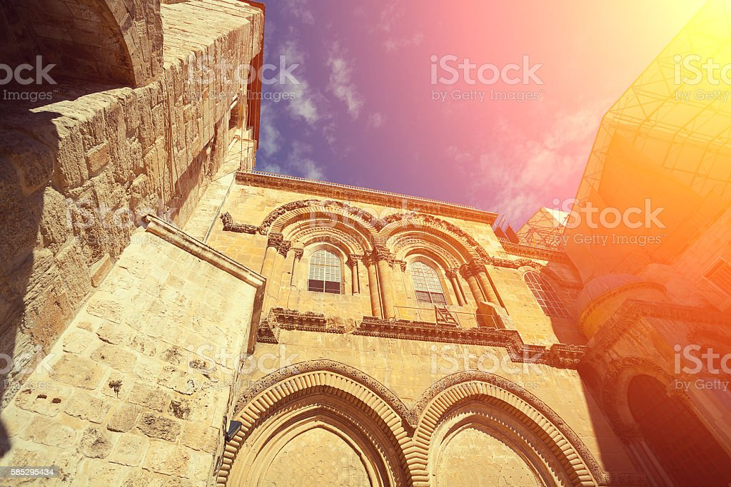 Perspective view of church of the holy sepulchre stock photo