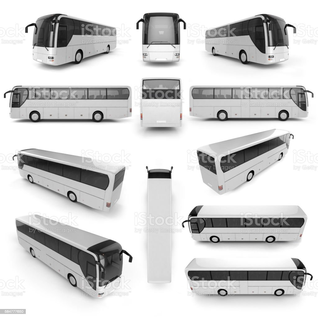 12 perspective view of City bus stock photo