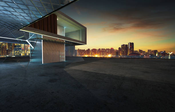 Perspective view of contemporary building exterior stock photo