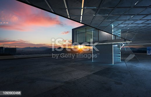 Perspective view of empty cement floor with steel and glass modern building exterior . 3D rendering and real images mixed media .