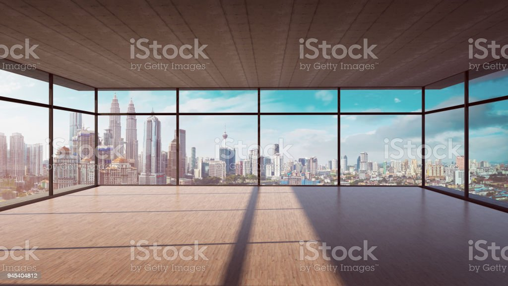 Perspective view of empty wood floor and cement ceiling interior stock photo