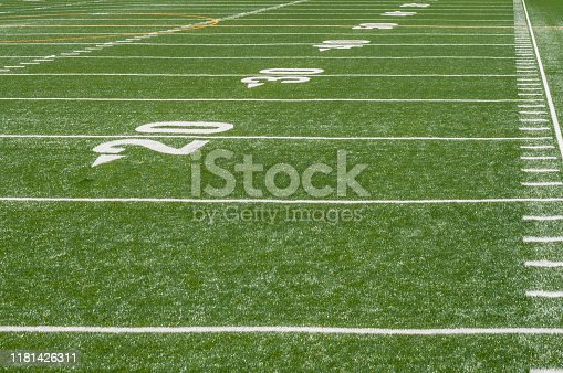 perspective view of marker lines down empty football field