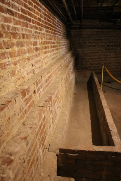 Perspective view of rustic brick wall stock photo