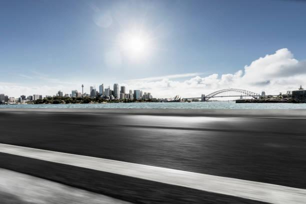 Perspektivische Ansicht des Hafen-Skyline von Sydney gegen Himmel – Foto