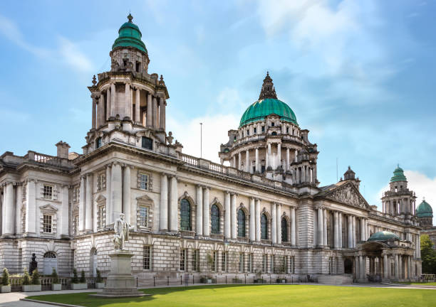 Perspective view of the Belfast City Hall at Donegall Square, Northern Ireland, UK. stock photo