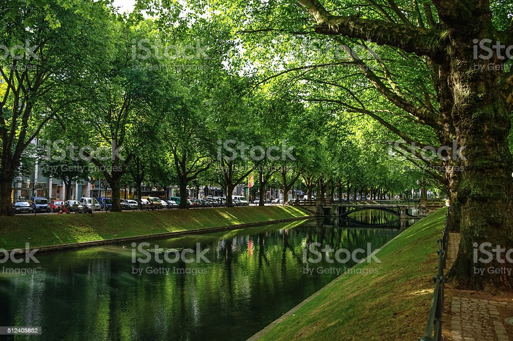 Perspective view of the historic avenue Koenigsallee (King's Ave stock photo