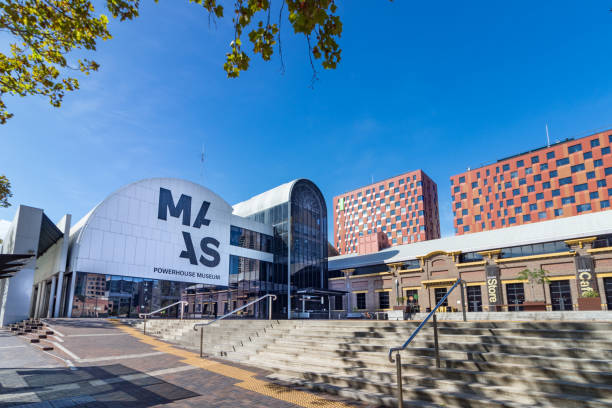 Perspective view of the Powerhouse Museum in Sydney, Australia. stock photo