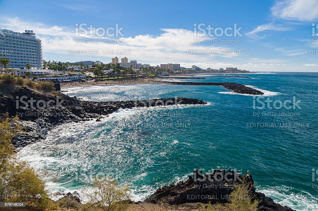 Perspective view on beaches of Costa Adeje resort stock photo