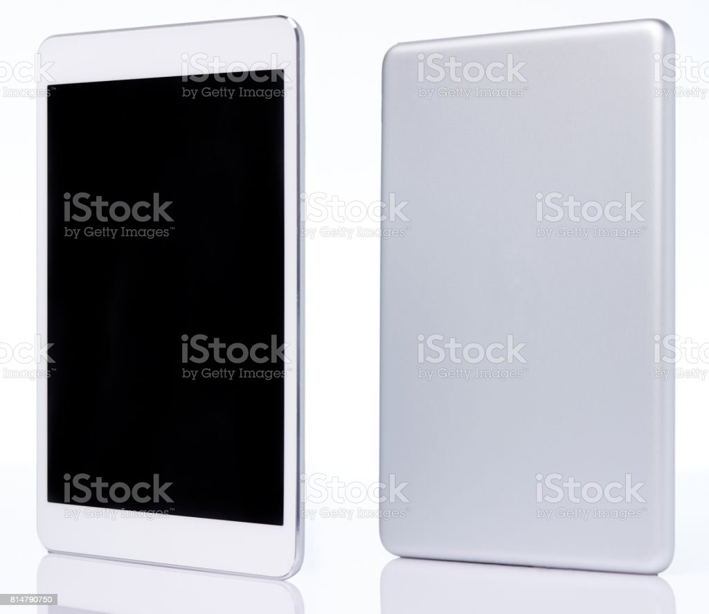 Perspective view on generic tablet stock photo