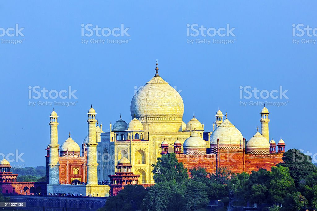 perspective view on Taj-Mahal mausoleum stock photo