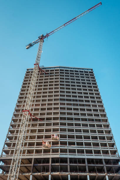 Perspective view on the Antwerp Tower building in full renovation Perspective view on the Antwerp Tower building in full renovation, Friday 3 August 2018, Antwerp, Belgium. kantoor stock pictures, royalty-free photos & images