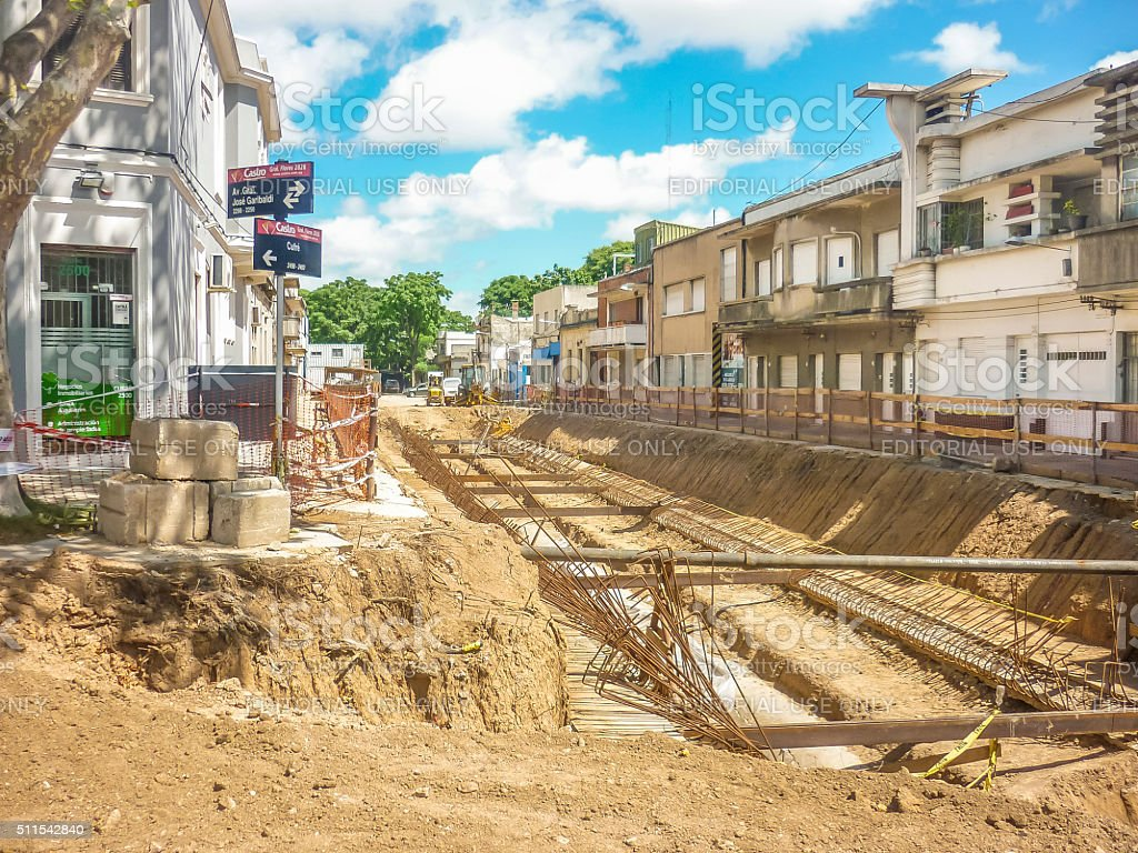 Perspective View Shot of Street Repair in Montevideo Uruguay stock photo