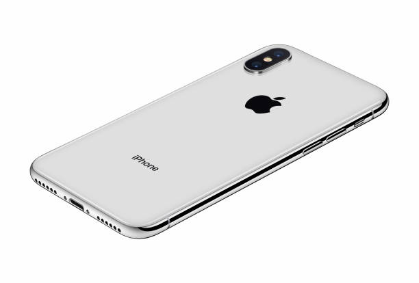 perspective view silver apple iphone x back side isolated on white background - advertising isometric stock photos and pictures