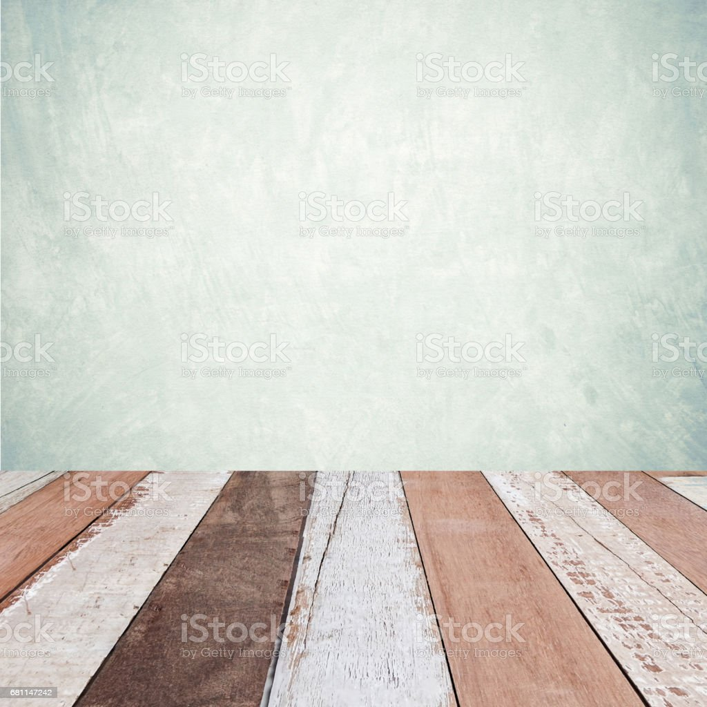 Perspective vintage wood over green cement wall background, room, table, interior design, product display montage royalty-free stock photo
