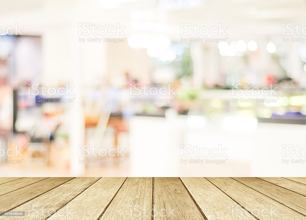 Perspective Wood And Blurred Cafe With Bokeh Light Background Stock