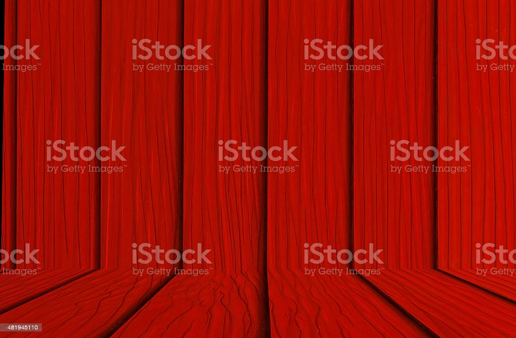 perspective wood wall red  tone for your work. stock photo