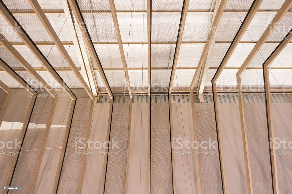 perspective wooden ceiling under construction stock photo