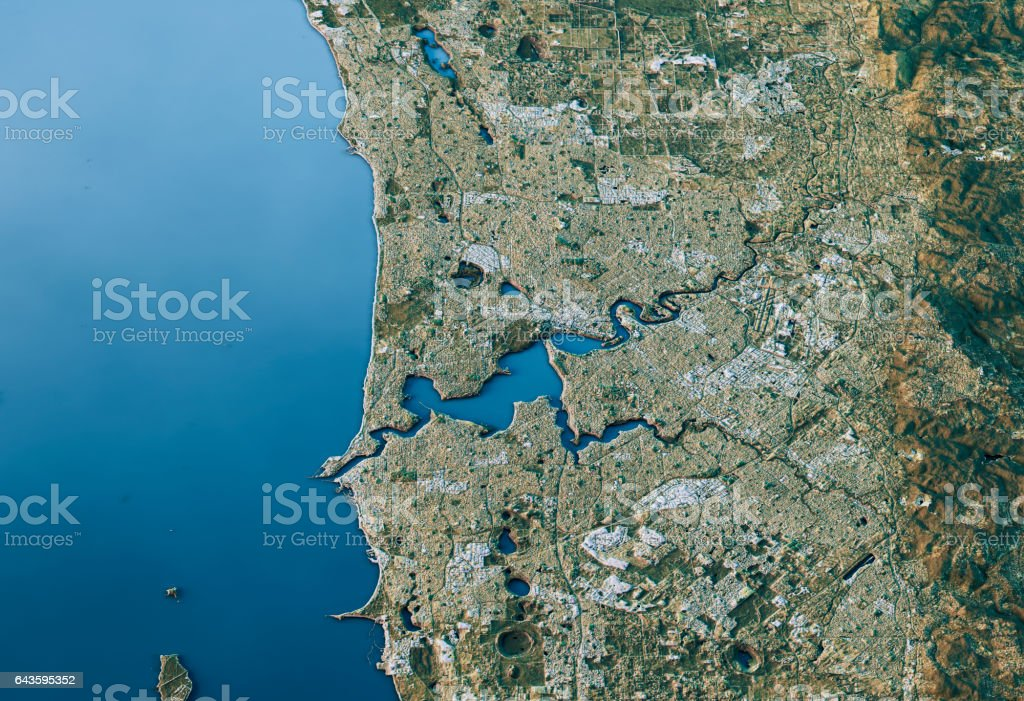 Perth 3D Landscape View South-North Natural Color stock photo