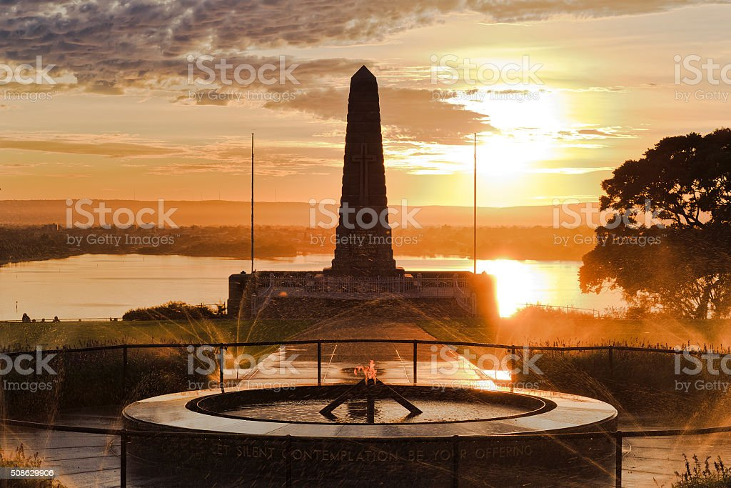 Perth ANZAC Yellow Rise stock photo