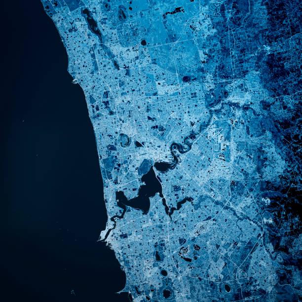 Perth Australien 3D Render Karte Blau Top Ansicht Sept 2019 – Foto