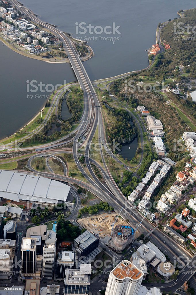 Perth City freeway aerial view Western Australia stock photo
