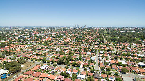 Perth City from Bedford Aerial view of suburbs surrounding Perth WA, with Perth in the background. urban sprawl stock pictures, royalty-free photos & images