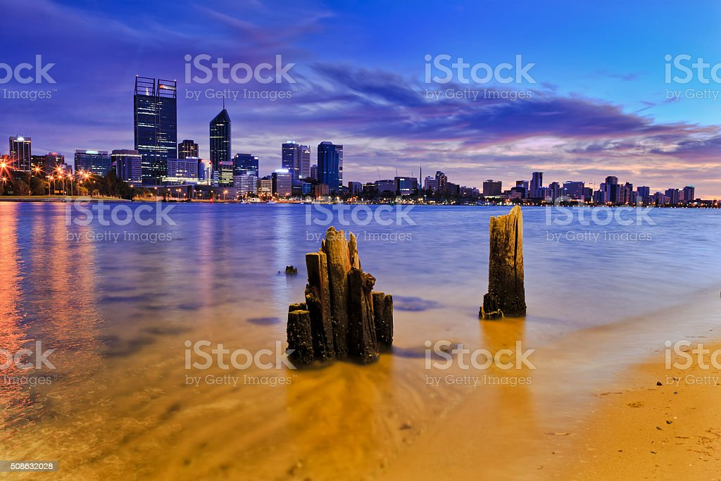 Perth City RIver poles sunrise stock photo