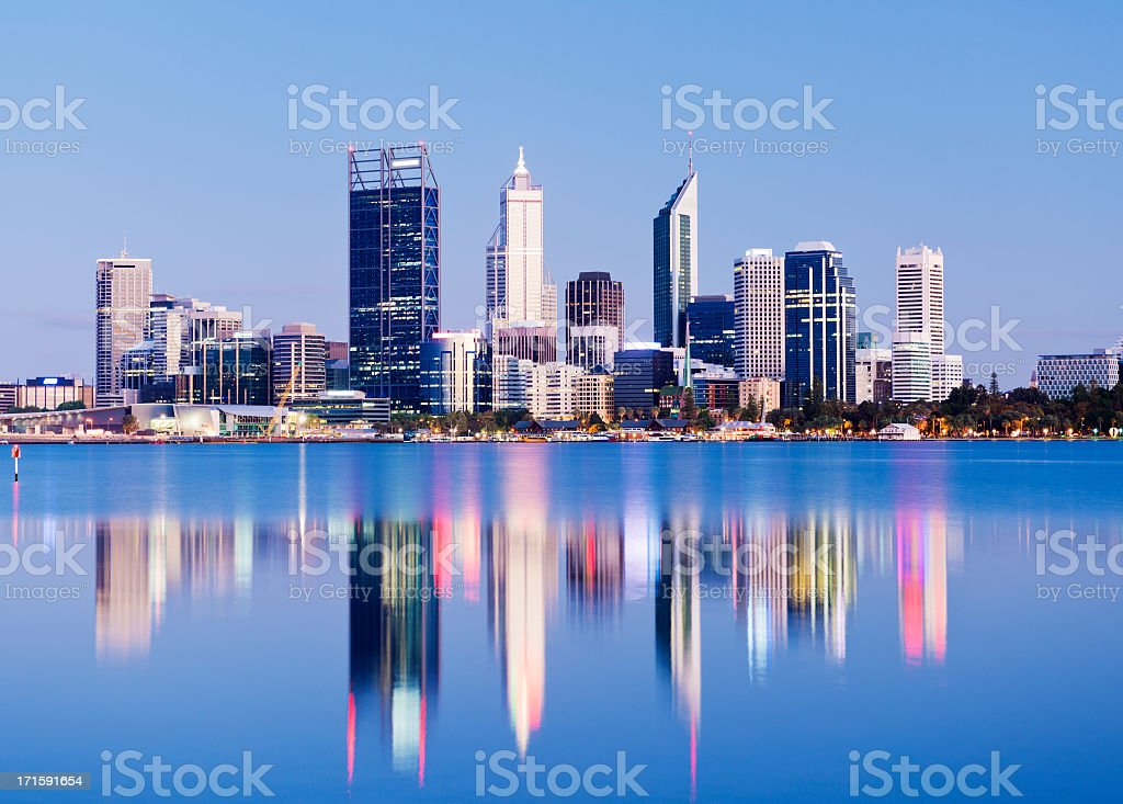 Perth City Skyline at Night Australia stock photo
