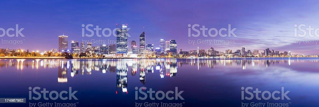 Perth City Skyline at Night Australia stock photo