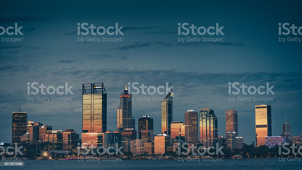 Perth city skyline at sunset stock photo