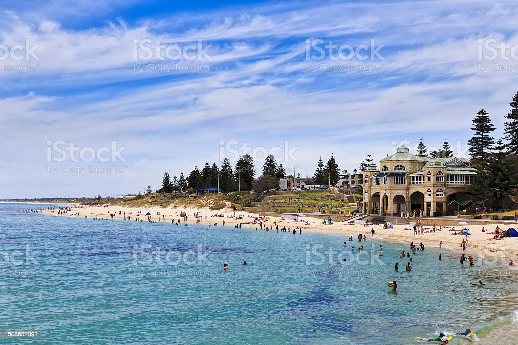 Perth Cottesloe beach pavilion day stock photo