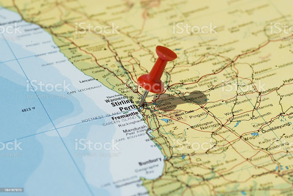 Perth Marked on Map with Red Pushpin stock photo