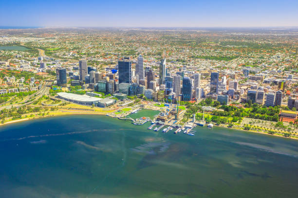 perth skyline aerial - western australia stock pictures, royalty-free photos & images