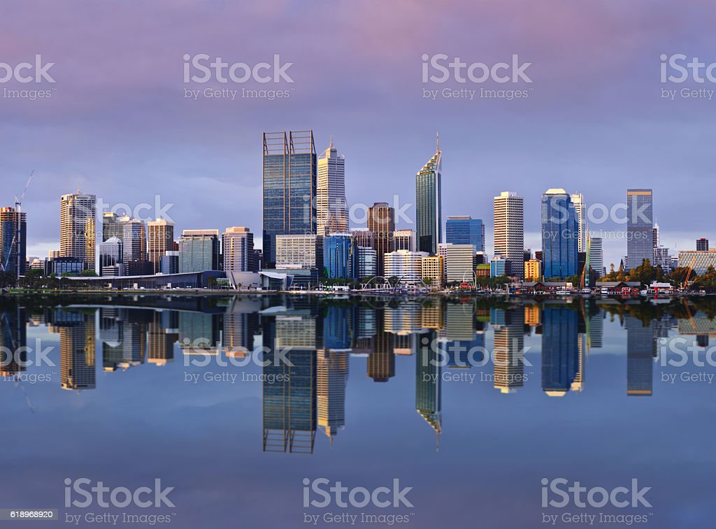 Perth Skyline at Sunset stock photo