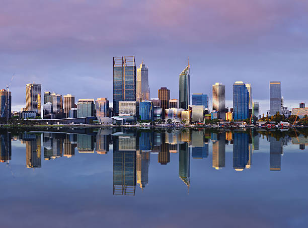 perth skyline at sunset - western australia stock pictures, royalty-free photos & images