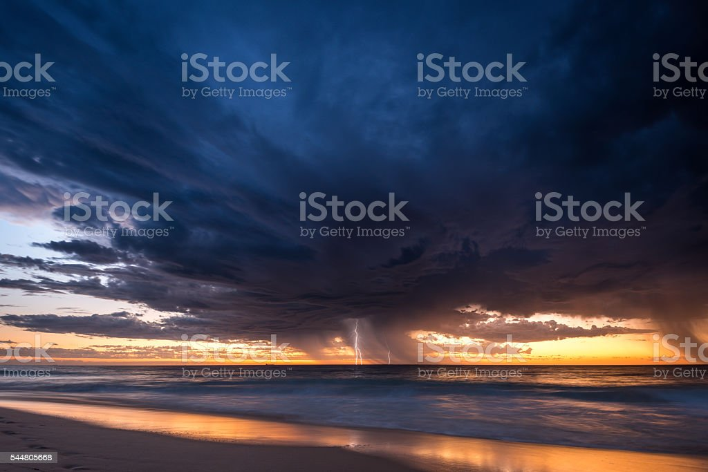 Summer storm from City beach in Perth, Australia