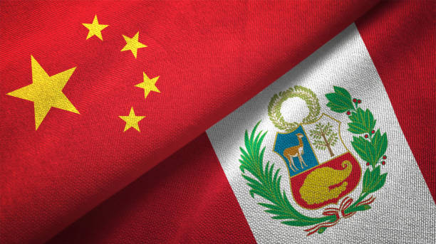 Peru and China two flags together realations textile cloth fabric texture stock photo