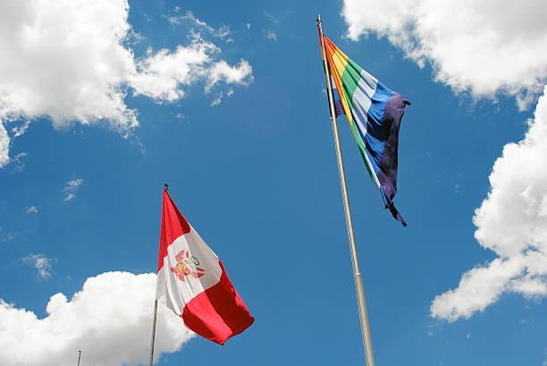 Peru and Cusco flag stock photo