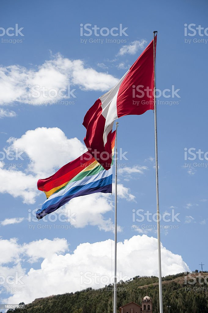 Peru and Cusco flags royalty-free stock photo