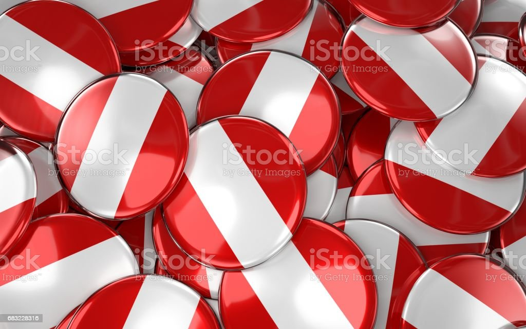 Peru Badges Background - Pile of peruvian Flag Buttons. foto de stock royalty-free