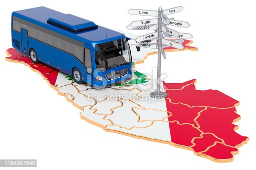 istock Peru Bus Tours concept. 3D rendering isolated on white background 1164347540