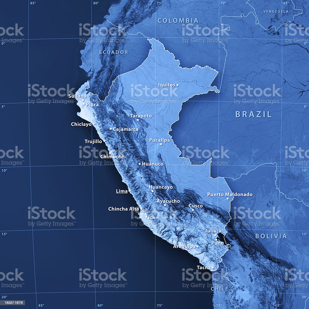 Peru Map Cities.Peru Cities Topographic Map Stock Photo More Pictures Of Altiplano