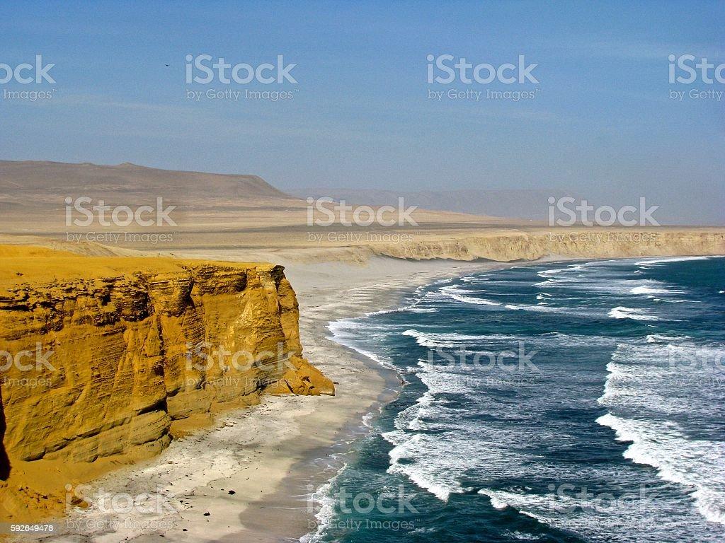 Peru cliffs and ocean Paracas stock photo