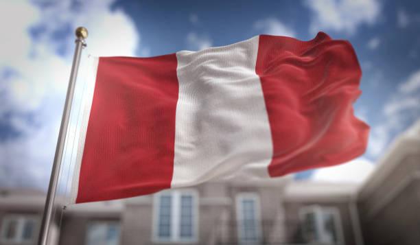 Render 3D de bandera de Perú en fondo azul cielo edificio - foto de stock